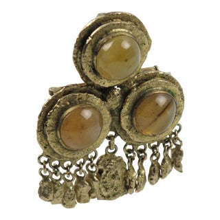 Medieval Revival Gilt Bronze Pin Brooch and Agate Cabochon by French Henry Perichon For Sale