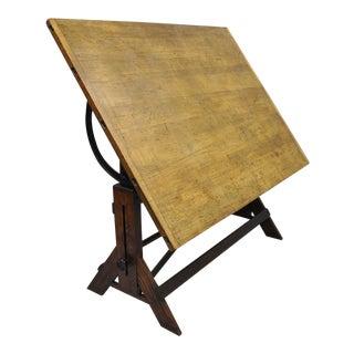 Kolesch & Co. Hamilton Mfg. Oak Wood Cast Iron Drafting Table