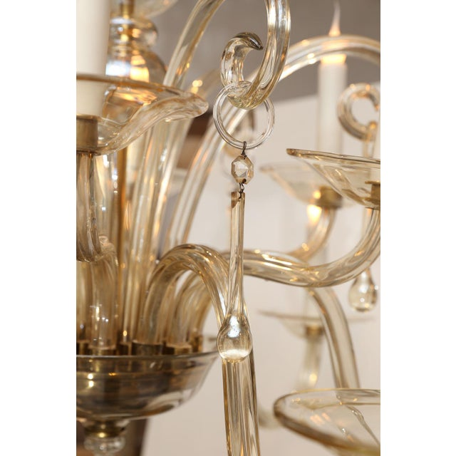 Vintage Italian Glass Chandelier For Sale - Image 4 of 9