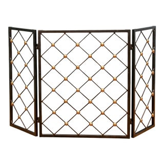 Late 20th Century Iron and Brass Tri-Fold Fire Screen For Sale