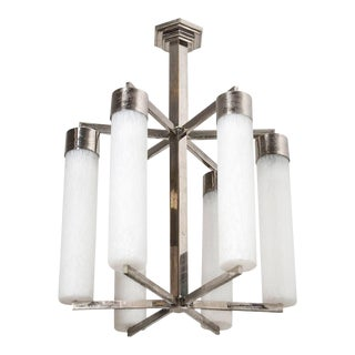 French 20th Century Art Deco Six-Light Chandelier For Sale