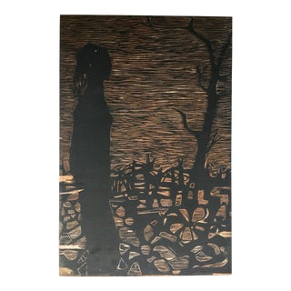 Late 20th Century Figure in the Woods Woodcut Printing Block For Sale