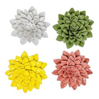 Handmade Ceramic Dahlia Flower Wall or Table Art - Set of 4 For Sale