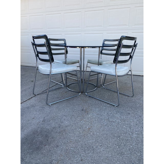 Mid-Century Modern Vintage Chromcraft Chrome & Smoke Glass Dinette Set - 5 Pieces For Sale - Image 3 of 13