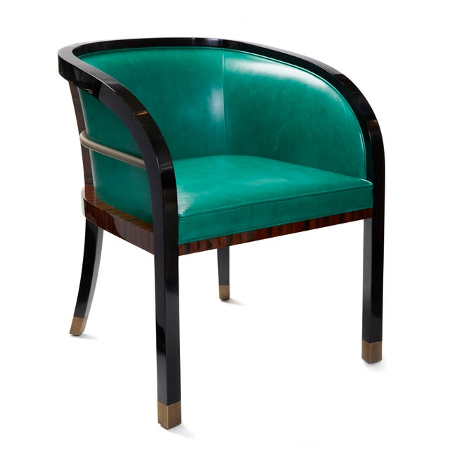 Macassar Ebony Black Lacquer and Bronze trim dining or occasional chair. With Moore and Giles Mont Blanc leather...