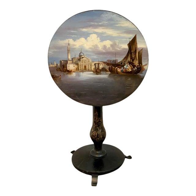 19th Century English Papier-Mâché Tilt-Top Table View of St Marks Square For Sale