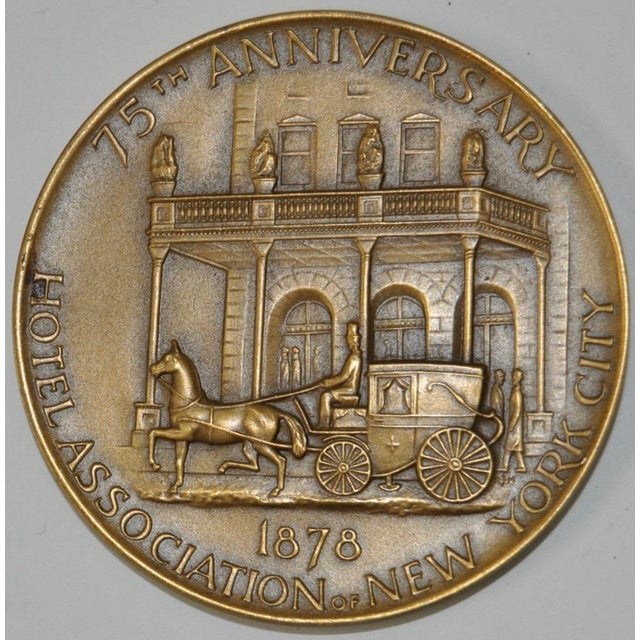 Hotel Association of New York City 75th Anniversary Commemorative Bronze Medallion c.1953 Beautiful sculptural bronze...