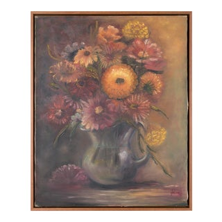 Floral Display in Vase Still Life Signed Oil Painting in Frame For Sale