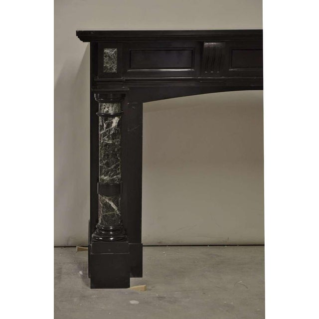 Traditional Late 19th Century, Dutch Black Marble Fireplace with Green Marble Pillars For Sale - Image 3 of 6