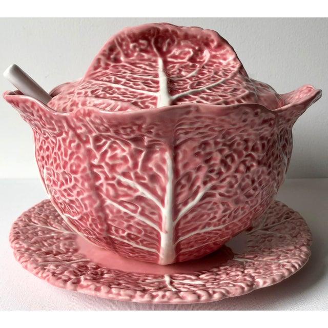 Bordado Pinheiro Pink Cabbage Leaf Majolica Tureen, Lid, Platter& Ladle For Sale - Image 11 of 11