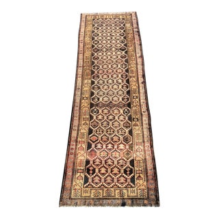 1950s Vintage Persian Meshkin Runner Rug - 3′10″ × 13′2″ For Sale