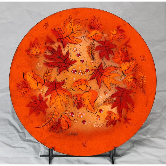 Sascha Brastoff Mid-Century Orange Leaves Enamel Charger - Image 2 of 11