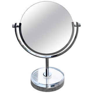 Charles Hollis Jones Two-Sided Vanity Mirror in Polished Nickel and Lucite For Sale