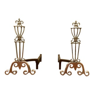 Antique Polished Nickle Andirons