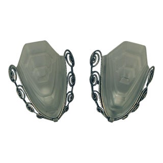 Art Deco Nickel-Plated Wrought Iron Wall Sconces by Degue - a Pair For Sale