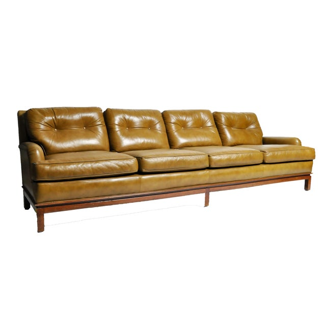 Edward Wormley Mid-Century Modern Green Leather Sofa With Hardwood Base by Edward Wormley For Sale - Image 4 of 11