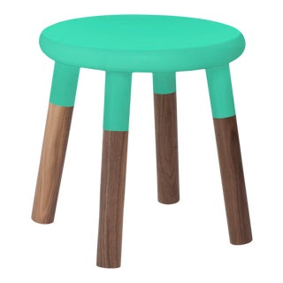 Peewee Kids Chair in Walnut With Mint Finish For Sale