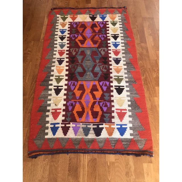 Tribal 1970s Vintage Turkish Kilim Rug-3′1″ × 5′3″ For Sale - Image 3 of 11