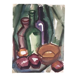Vintage Gouache Still Life Painting