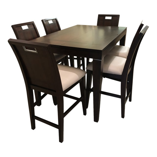 Contemporary Espresso Finished Counter-Height Dining Set From Ethan Allen - Extension Table With 6 Upholstered Chairs - 8 Pieces For Sale