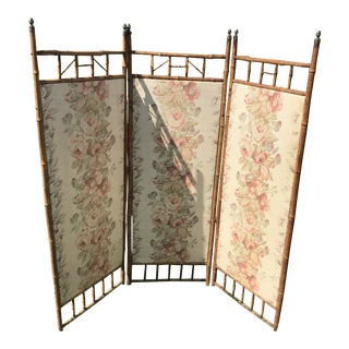 Vintage Embroidered Bamboo Folding Screen With Vintage Floral Bark Cloth For Sale