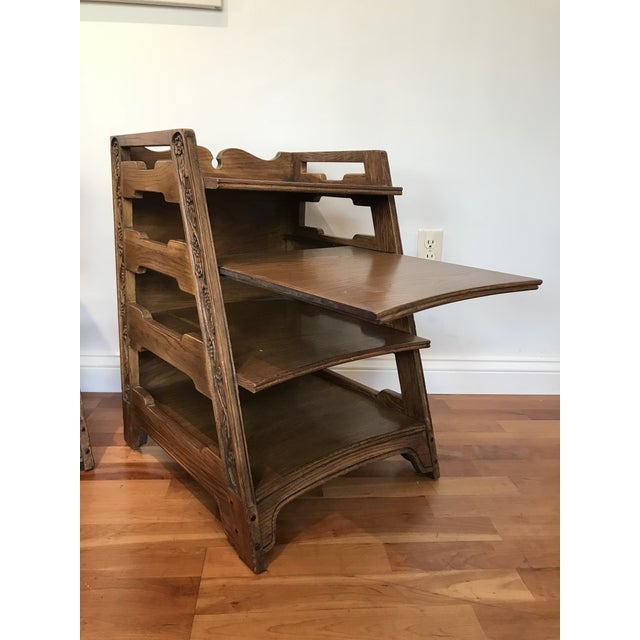 Mid-Century Modern Romweber Viking Oak End Table Nightstands Magazine Shelf 5712 5-950 Arts and Crafts - a Pair For Sale - Image 3 of 13