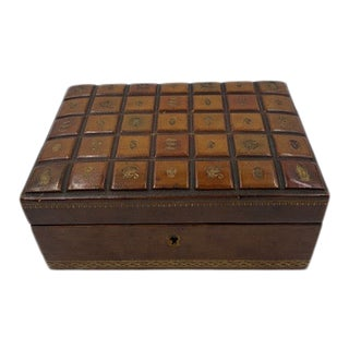 1970s Leather Jewelry Box With Gold Embossed Emblems and Lock With Key For Sale