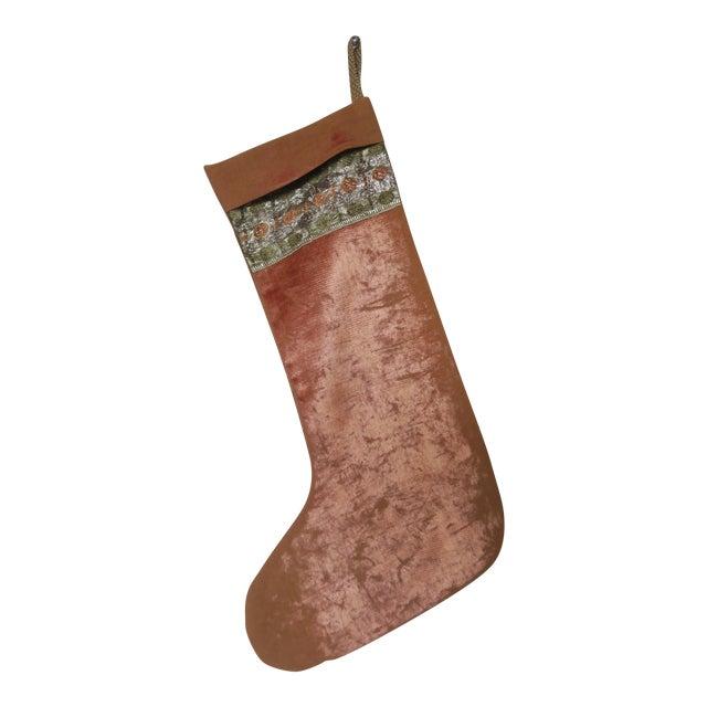 Vintage Velvet Christmas Stocking For Sale