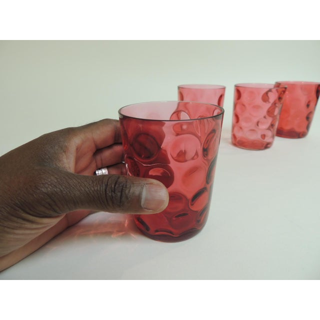 Antique Cranberry Reversed Tumblers - Set of 4 - Image 5 of 5