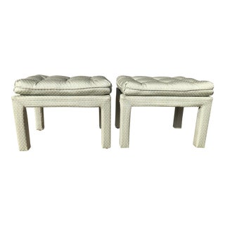 Milo Baughman Style Parson Tufted Pillow Top Benches- a Pair For Sale