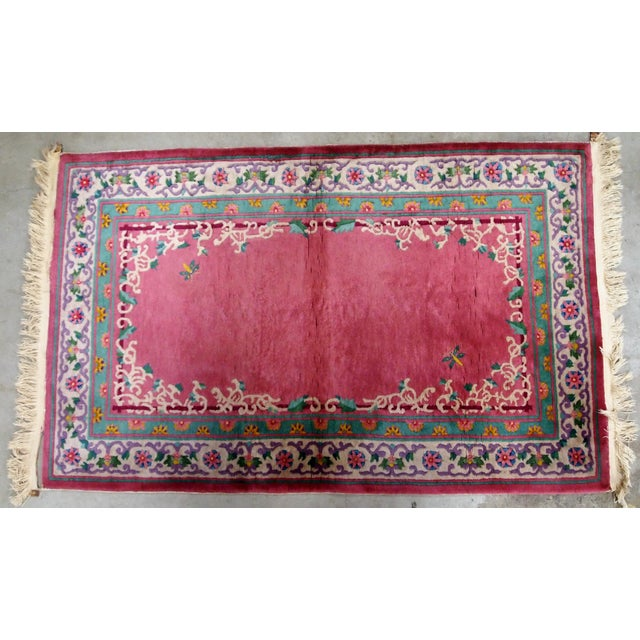 Purple 1930s Handmade Antique Art Deco Chinese Rug 2.10' X 5.10' For Sale - Image 8 of 9