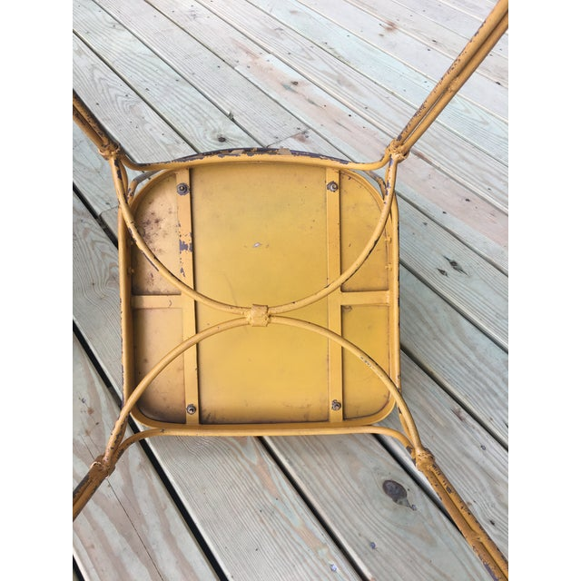 Metal Vintage Mid Century Yellow Industrial Metal Dining Chairs-Set of 6 For Sale - Image 7 of 13