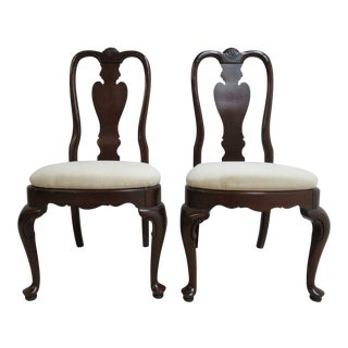 Ethan Allen Georgian Court Queen Anne Dining Room Side Chairs - a Pair For Sale