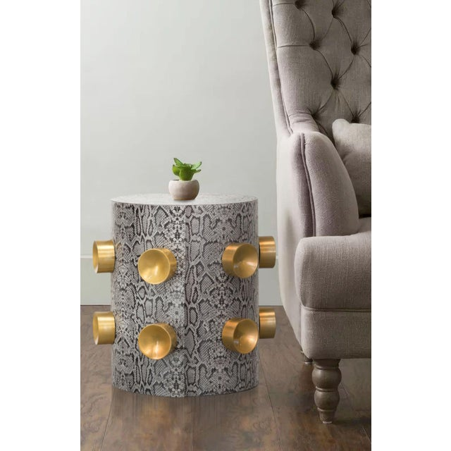 Kinnette Snake Skin Embossed End Table for Living Room, Leather, Gray,  Round Accent Furniture, Golden Studs, Side Table