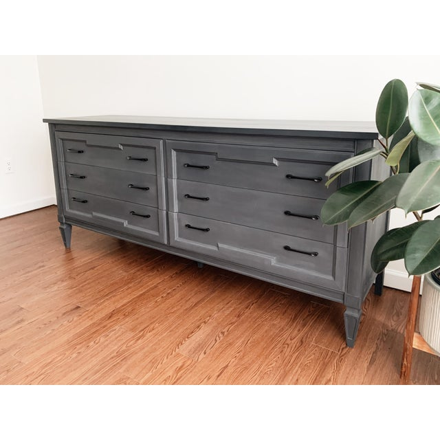 1970s Mid-Century Modern Grey Charcoal Dresser For Sale - Image 5 of 9