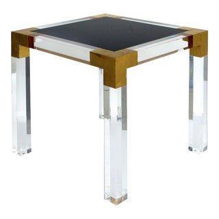 Custom Lucite Side Table W/ Interchangeable Tops & Gold Leaf Accents For Sale