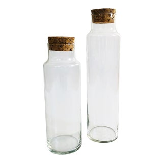 Vintage Glass Corked Apothecary Jars - Set of 2 For Sale