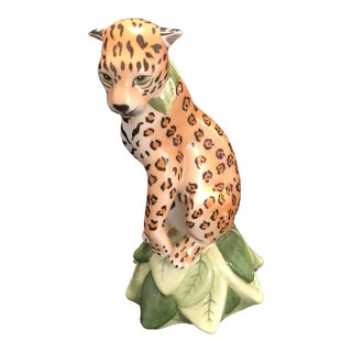 1990s Lynn Chase Hungarian Porcelain Leopard Figurine For Sale