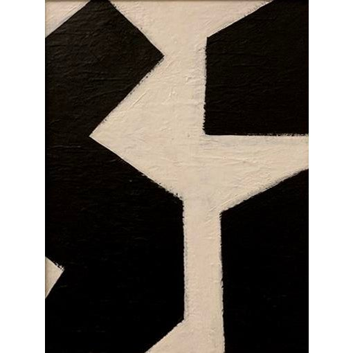 Abstract Original Black & White Framed Graphic Painting For Sale - Image 3 of 6