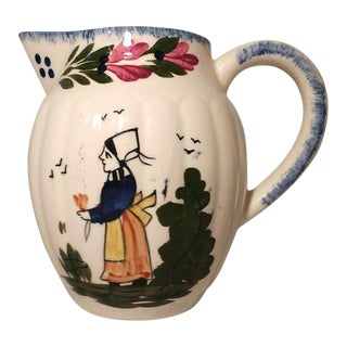 1940s Blue Ridge Southern Pottery Colonial French Peasant Virginia Pitcher For Sale