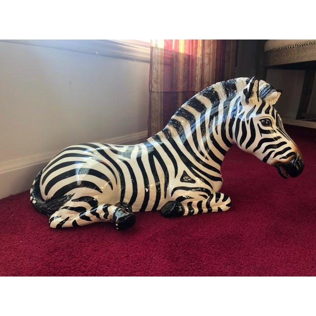 White 1980s Figurative Ceramic Zebra For Sale - Image 8 of 8