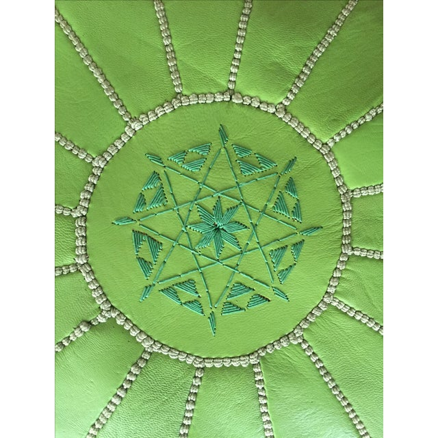 Green Moroccan Leather Pouf - Image 4 of 5