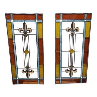 Arts and Crafts Fleur-De-Lis Stained Glass Window Panels- a Pair For Sale