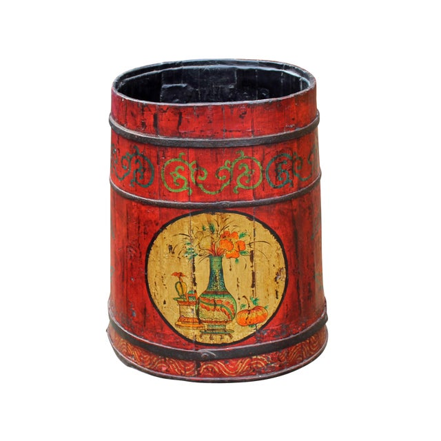 Distressed Chinese Tibetan Barrel Shape Red Floral Bucket Wood Container For Sale