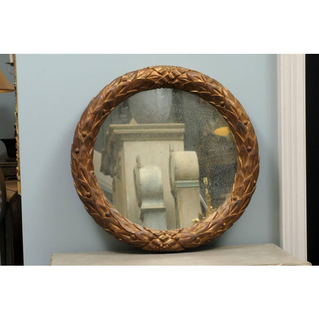 Garland Mirror With Gilded Wooden Frame and Foliage Motif For Sale - Image 4 of 9