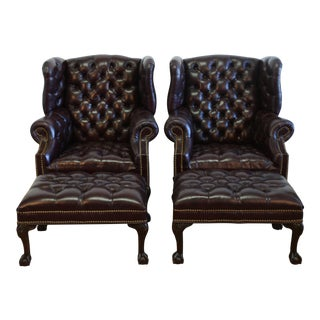 Tufted Chesterfield Set of Wing Back Chairs and Ottomans For Sale