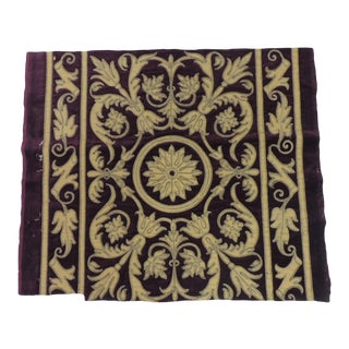 Antique Italian Gold and Burgundy Silk on Silk Velvet Applique Textile Panel For Sale