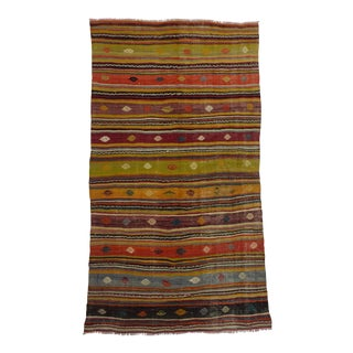 "Vintage Striped Kilim Rug - 5'2"" x 9'8"" For Sale"