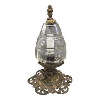 1920s French Baccarat Crystal / Bronze Lantern For Sale