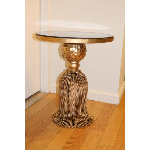 Gold Tassel Ebony Side Table For Sale - Image 4 of 4